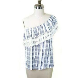 Angie // Cotton & Lace One Shoulder Plaid Blouse